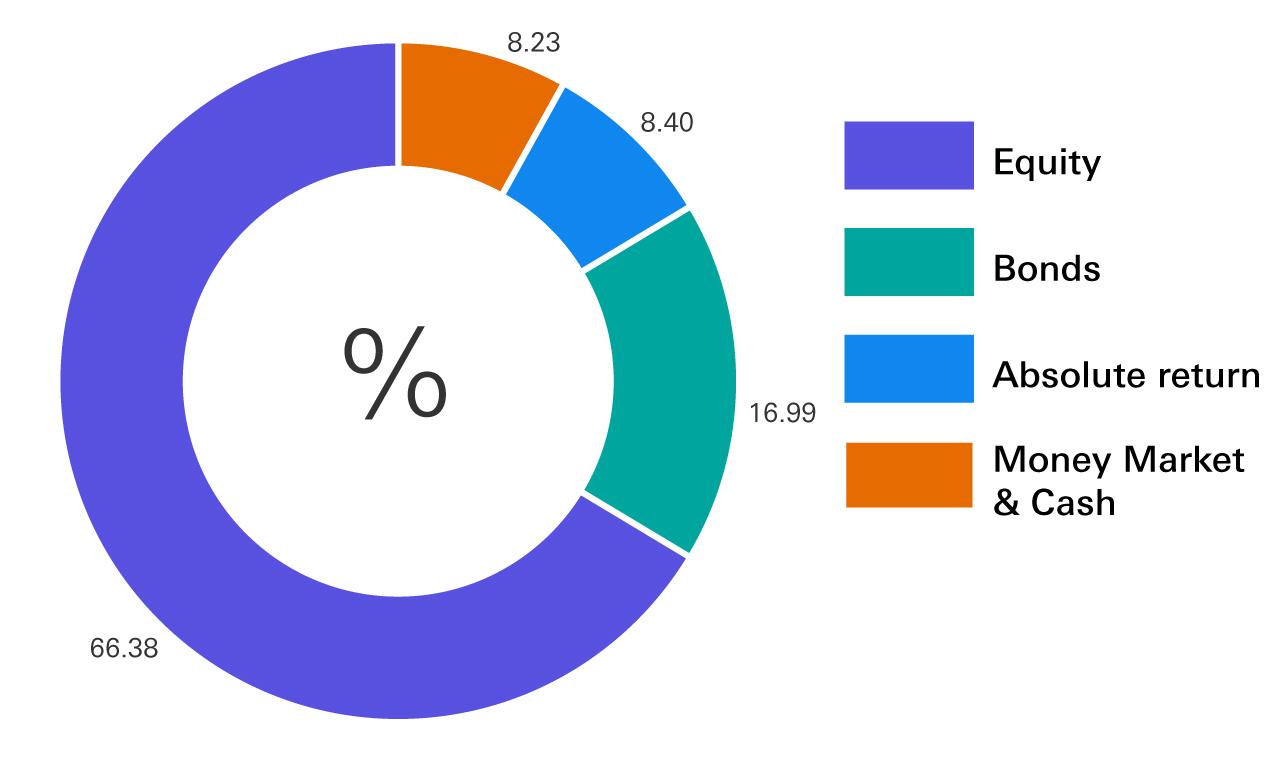 Equity 66.38%, Bonds 16.99%, Absolute return 8.40%, Money Market & Cash 8.23%