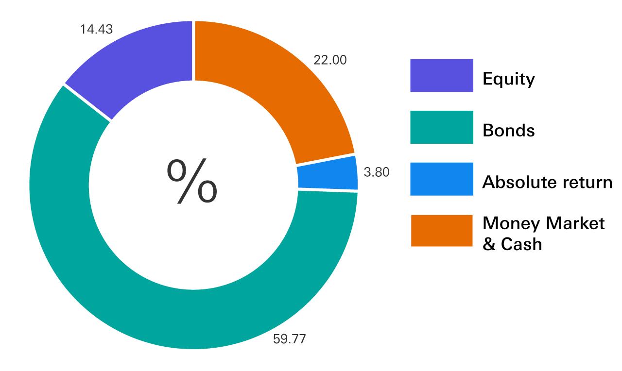 Bonds 59.77%, Equity 14.43%, Money Market & Cash 22%, Absolute return 3.80%